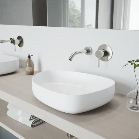 VIGO Peony Vessel Bathroom Sink Set and Olus Wall Mount Faucet Set