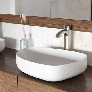 VIGO Peony Matte Stone Vessel Bathroom Sink Set With Otis Brushed Nickel Vessel Faucet