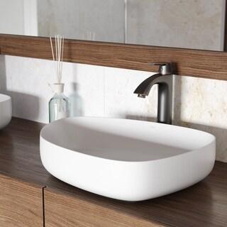 VIGO Peony Matte Stone Vessel Bathroom Sink and Linus Faucet Set