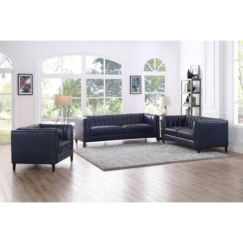 Churchill Leather Sofa, Loveseat and Chair Living Room Set