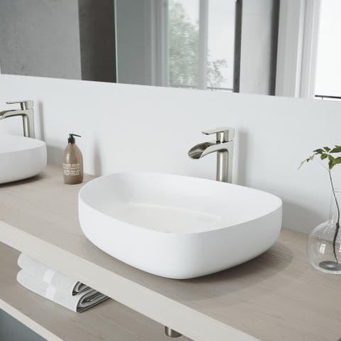 VIGO Peony Matte Stone Vessel Bathroom Sink and Niko Vessel Faucet Set