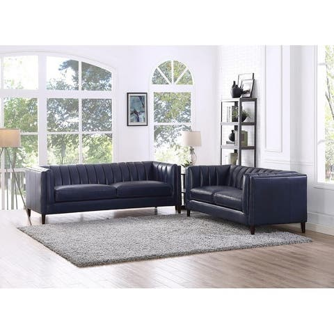 Churchill Leather Sofa and Loveseat Living Room Set