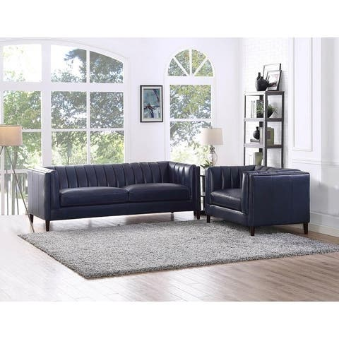 Churchill Leather Sofa and Chair Living Room Set