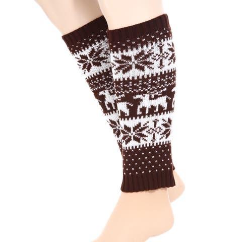 Women Snowflake Deer Leg Warmers Knit Boot Toppers Socks Cuffs Coffee