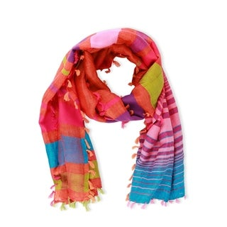 Handmade Saachi Rainbow Stripes Scarf (India)