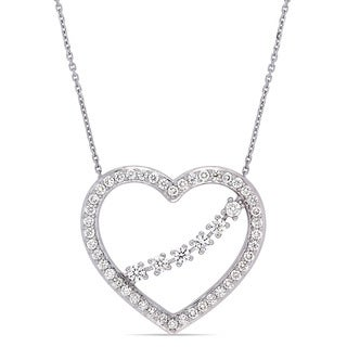 Miadora Signature Collection 14k White Gold 1ct TDW Diamond Floral Accent Open Heart Crossover Branch Necklace