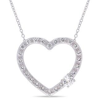 Miadora Sterling Silver Created White Sapphire Open Heart Necklace