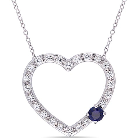Miadora Sterling Silver Created Blue and Created White Sapphire Open Heart Necklace