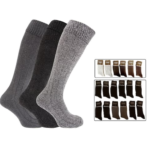 12 Pairs: Mens Cotton-Blend Classic Crew Socks (Size 10-13)