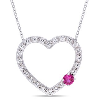 Miadora Sterling Silver Created Ruby and Created White Sapphire Open Heart Necklace - Pink