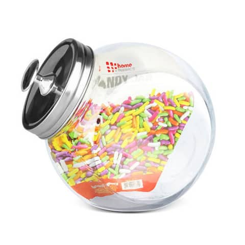 Home Basics Clear and Silver Glass Candy Jar