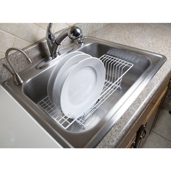 Home Basics White Vinyl Coated Steel Over The Sink Rack Free Shipping On Orders 45 19997731