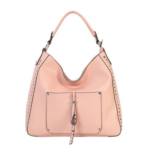 Diophy PU Leather Stud Decoration Front Pocket Hobo Handbag - L