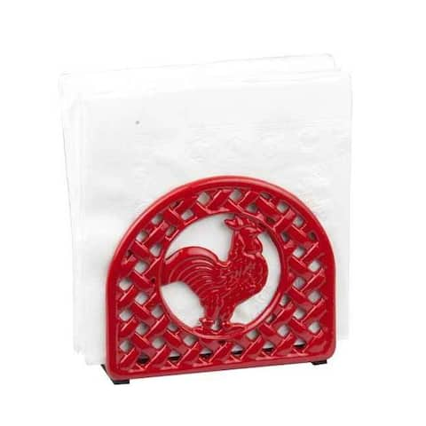 Home Basics Red Cast Iron Rooster Napkin Holder