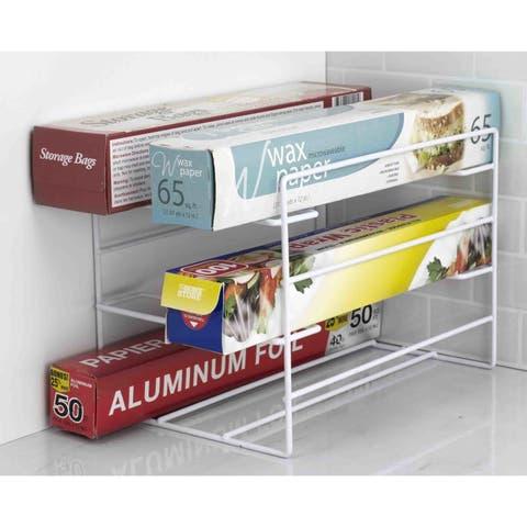 Home Basics White Vinyl Coated Steel Wrap Organizer