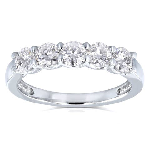 Annello by Kobelli 14k Gold 1ct TDW Round Five Stone Diamond Prong-set Wedding Band - Multiple Color Options