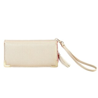 Diophy PU Leather Trifold Wallet with Tassels Decoration Clutch - S (Option: Gold)