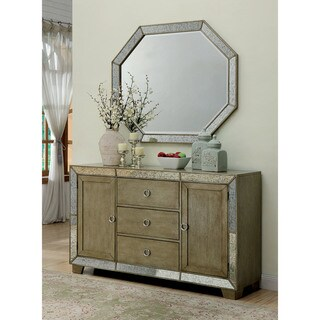 Furniture of America Alera Contemporary Antique Gold Mirrored Server