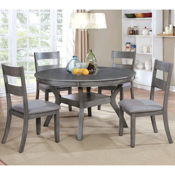 Furniture of America Relia Transitional Grey 54-inch Round Dining Table & Furniture of America Relia Transitional Grey 54-inch Round Dining ...