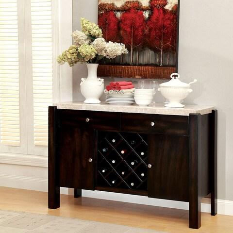 Furniture of America Freya Contemporary Dark Walnut Genuine Marble Dining Server