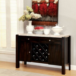 Furniture of America Freya Contemporary Dark Walnut Genuine Marble Dining Server