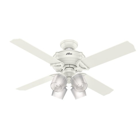 "Hunter Fan 52"" Brunswick Fresh White w / 4 White / Grey Oak Rev Blds"