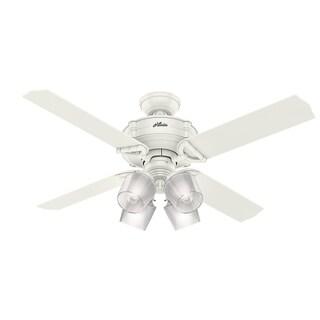 "Hunter Fan 52"" Brunswick Fresh White w / 4 White / Grey Oak Rev Blds"