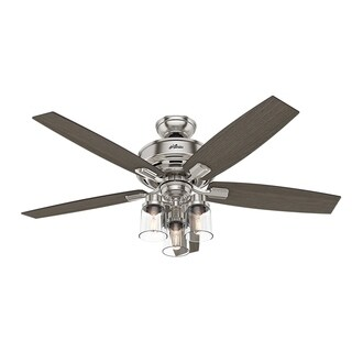 "Hunter Fan 52"" Bennett Brushed Nickel w / 5 Gry Wlnt / Gry Oak Rev Blds"