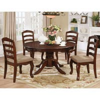Furniture of America Sunart Transitional Dark Walnut Floral Carved Round Dining Table