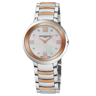 Baume & Mercier Women's MOA10252 'Promesse' Mother of Pearl Diamond Dial Stainless Steel/Rose Gold Swiss Quartz Watch