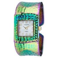 Vernier Women's V1834 Rainbow Hammered Bangle Watch - Black