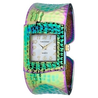 Vernier Women's V1834 Rainbow Hammered Bangle Watch - Black