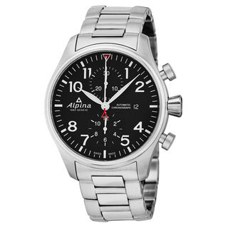 Alpina Men's AL-725B4S6B 'Smartimer Pilot' Black Dial Stainless Steel Chronograph Swiss Automatic Watch