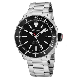 Alpina Men's AL-525LBG4V6B 'Sea Strong Diver 300' Black Dial Stainless Steel Swiss Automatic Watch