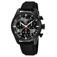 Alpina Men's AL-372BMLY4FBS6 'Smartimer' Black Camouflage Dial Black Fabric Strap Chronograph Swiss Quartz Watch
