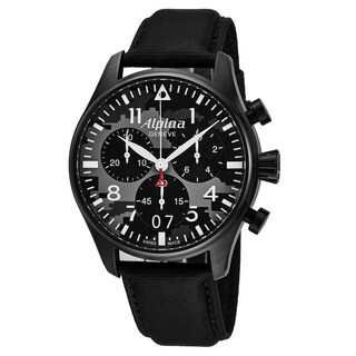 Alpina Men's AL-372BMLY4FBS6 'Smartimer' Black Camouflage Dial Black Fabric Strap Chronograph Swiss Quartz Watch