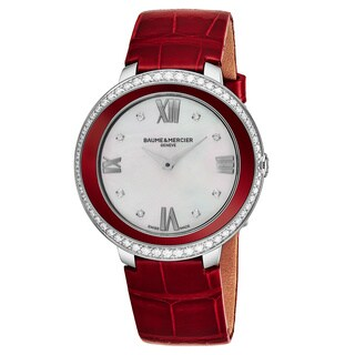 Baume & Mercier Women's MOA10200 'Promesse' Mother of Pearl Dial Red Leather Strap Diamond Swiss Quartz Watch