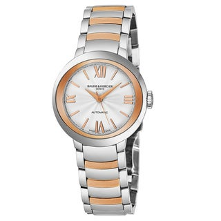 Baume & Mercier Women's MO 'Promesse' Silver Dial Stainless Steel/Rose Gold Swiss Automatic Watch