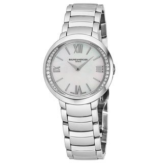 Baume & Mercier Women's MOA10160 'Promesse' Mother of Pearl Dial Stainless Steel Diamond Swiss Quartz Watch