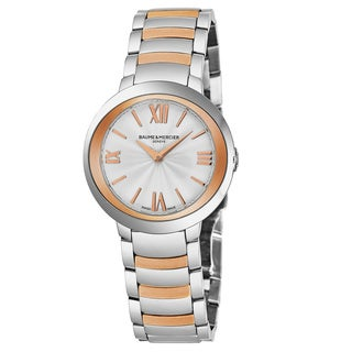 Baume & Mercier Women's MO 'Promesse' Silver Dial Stainless Steel/Rose Gold Swiss Quartz Watch