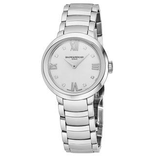 Baume & Mercier Women's MOA10158 'Promesse' Mother of Pearl Diamond Dial Stainless Steel Swiss Quartz Watch
