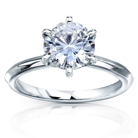 Annello by Kobelli 14k Gold 2 Carat Classic Solitaire Round Brilliant Moissanite Engagement Ring (DEF, VS) - Multiple Colors