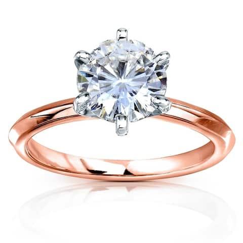 Annello by Kobelli 14k Gold 2 Carat Classic Solitaire Round Brilliant Moissanite Engagement Ring (FG, VS) - Multiple Colors