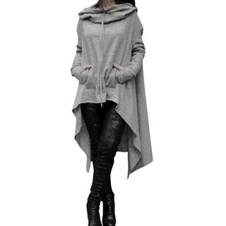 Ladies Hooded Solid Long Irregular Hem Loose Blouse Top Series 3