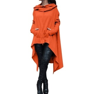 Ladies Hooded Solid Long Irregular Hem Loose Blouse Top Series 5