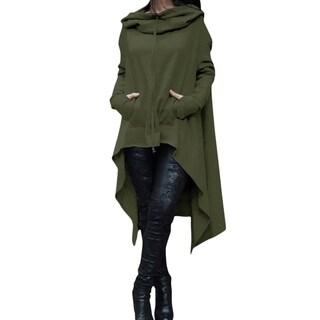Ladies Hooded Solid Long Irregular Hem Loose Blouse Top Series 2