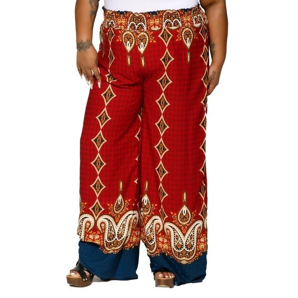 4d46e8a757c Shop Xehar Womens Plus Size Wide Leg Border Print Palazzo Lounge ...