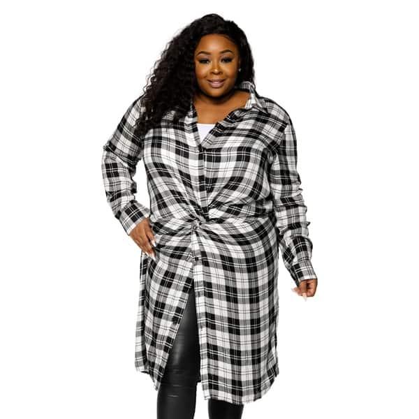Shop Xehar Womens Plus Size Casual Stylish Long Plaid ...