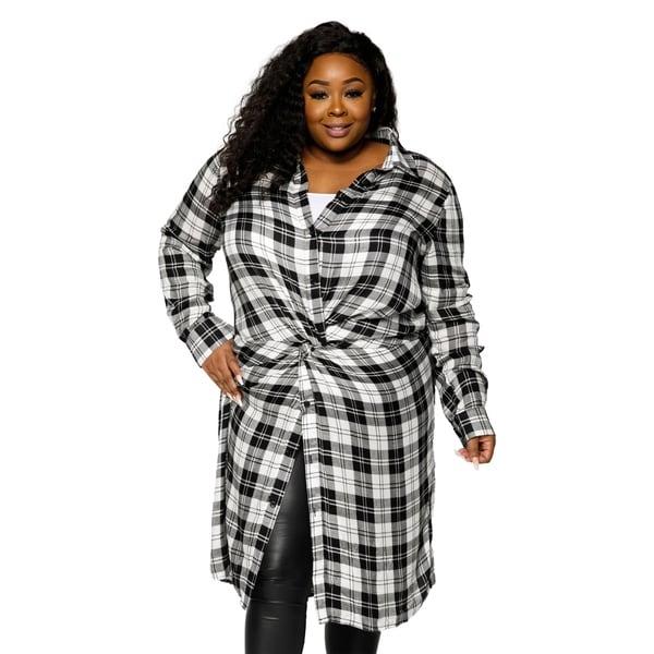 Shop Xehar Womens Plus Size Casual Stylish Long Plaid Flannel Shirt ...
