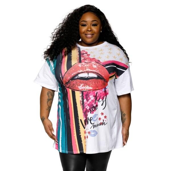2c26d44d Shop Xehar Womens Plus Size Graphic Printed T-Shirt Tunic Blouse Top ...